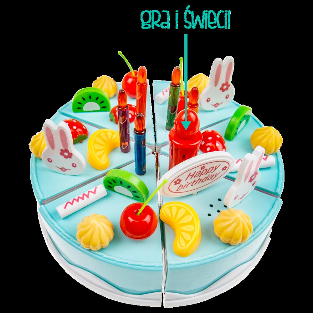 Tort urodzinowy zabawka do krojenia świeci | Dzieci
