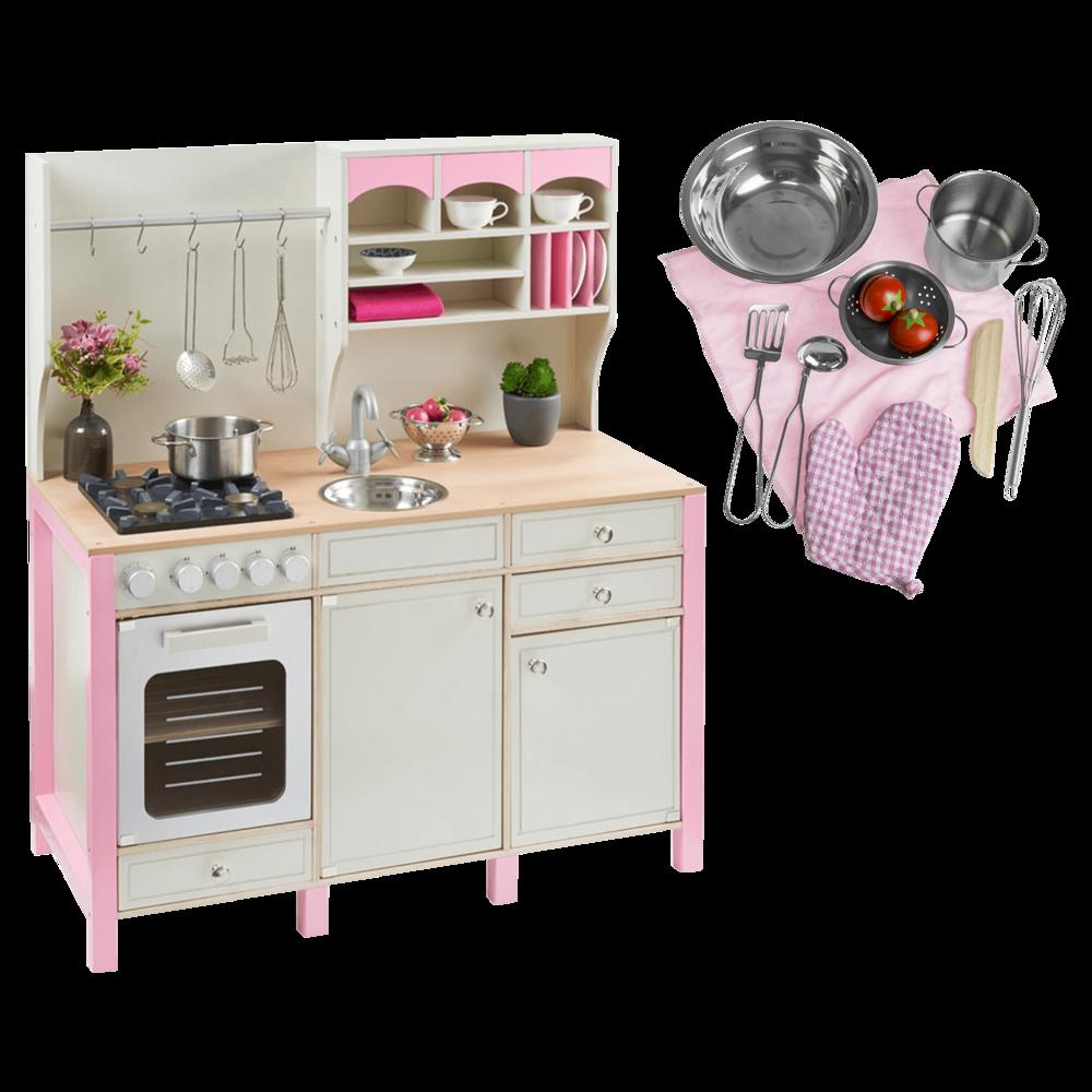 Kuchnia Drewniana Dla Dzieci Rozowa Duzy Zestaw Dziewczynka