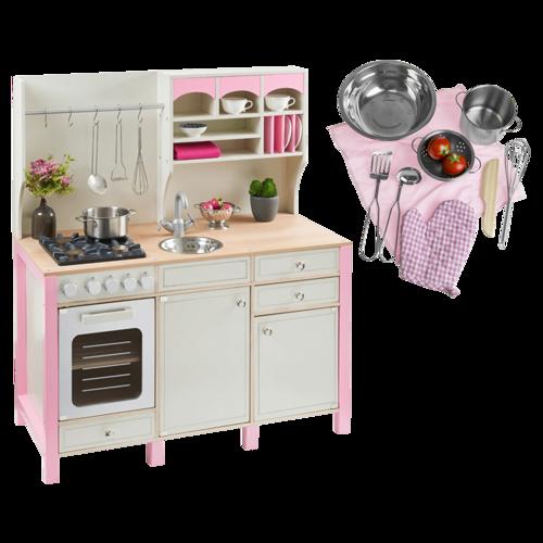 Kuchnia Drewniana Dla Dzieci Rozowa Duzy Zestaw
